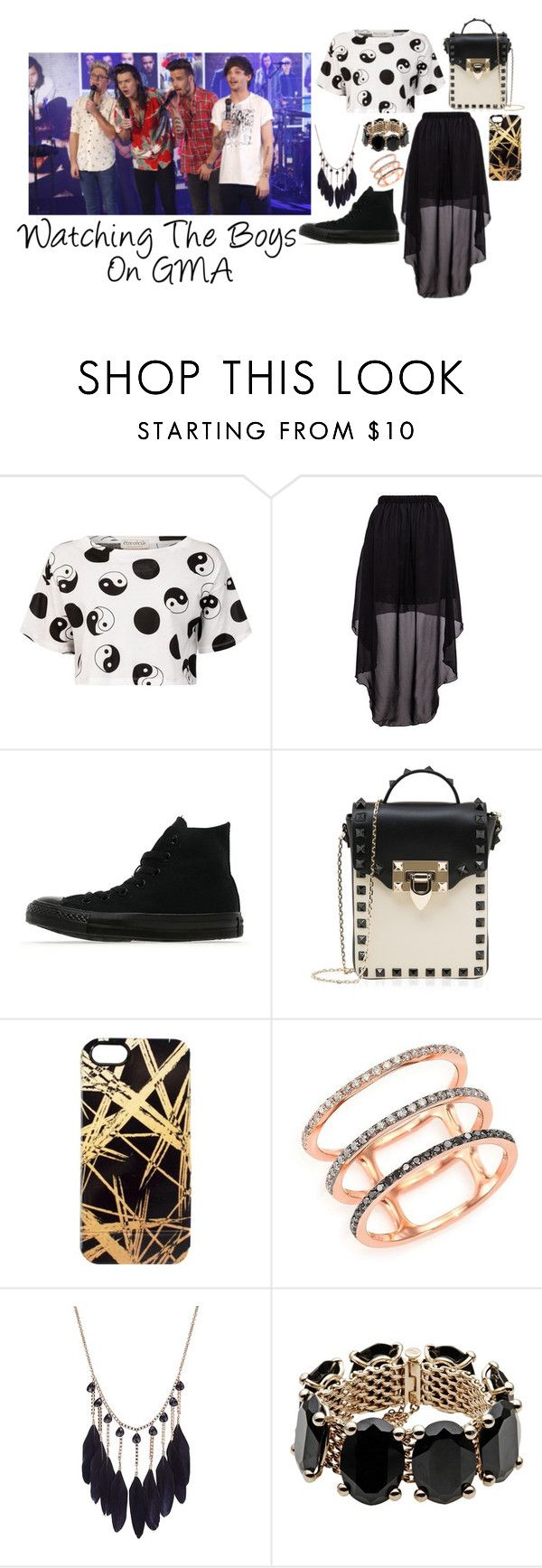 """""""Watching the Boys on GMA"""" by gingy333 ❤ liked on Polyvore featuring Être Cécile, Converse, Valentino, Khristian A. Howell and EF Collection"""