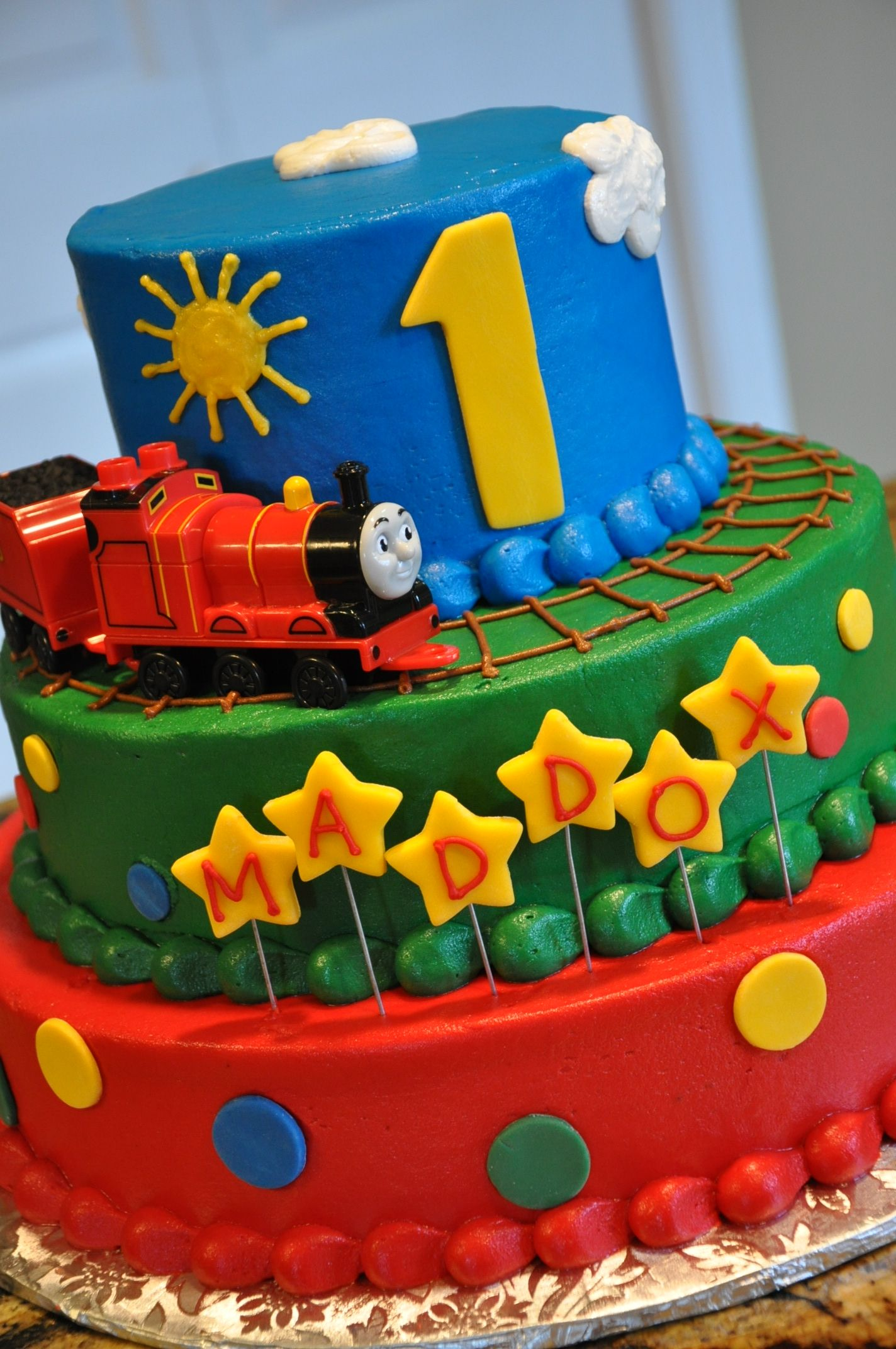 3 Tier Thomas Train Cake