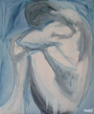 "Expressive Figure Painting Step by Step: ""Blues"": Expressive Figure Painting: Blues Step 1 Blocking in Shapes"