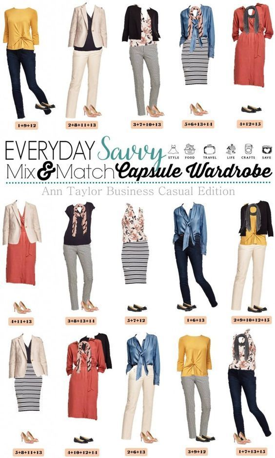 dab08bfd3d3 Fun Ann Taylor Business Casual capsule wardrobe. Includes pop of color