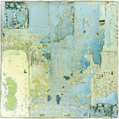 "I want my studio wall to look like this . . .(""37 Blue"" by Sam Lock   Mixed media on board.37x37cm.)"