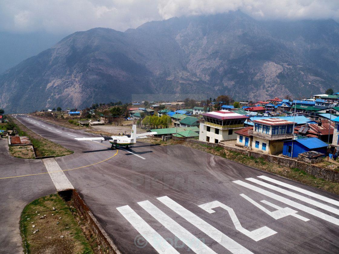 Aeroplane on the runway of Lukla (TenzingHillary) airport