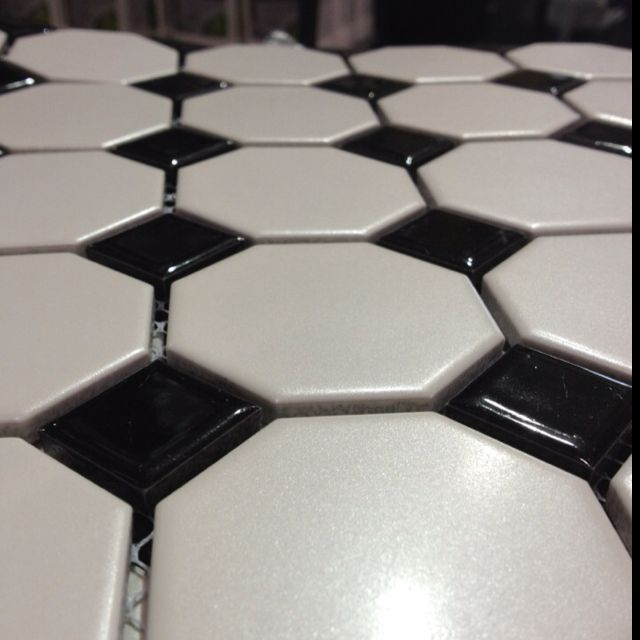 Retro Black And White Octagon Tile For Guest Bath From