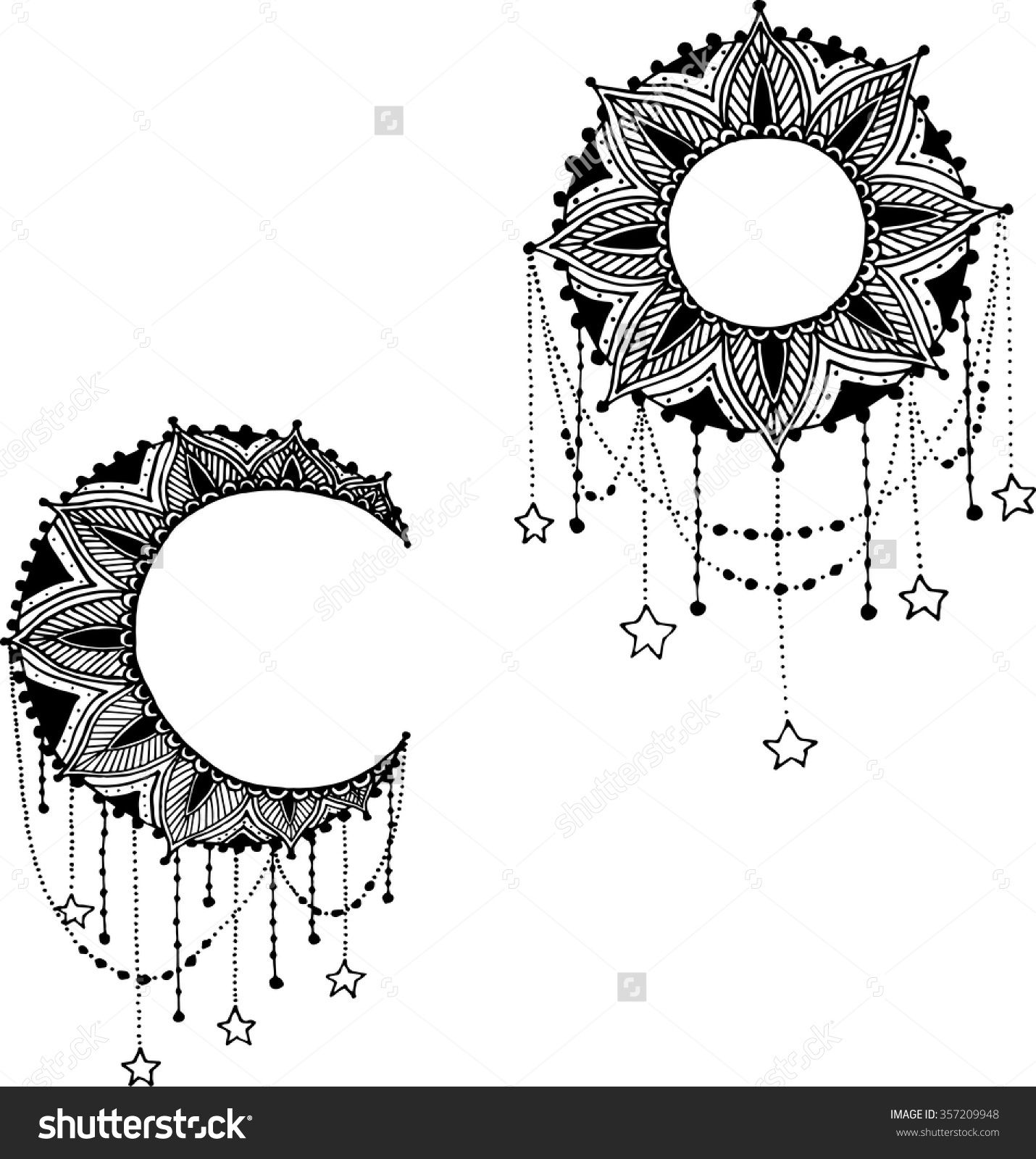 Stock Vector Vector Beautiful Deco Black Moon And Sun Mandala