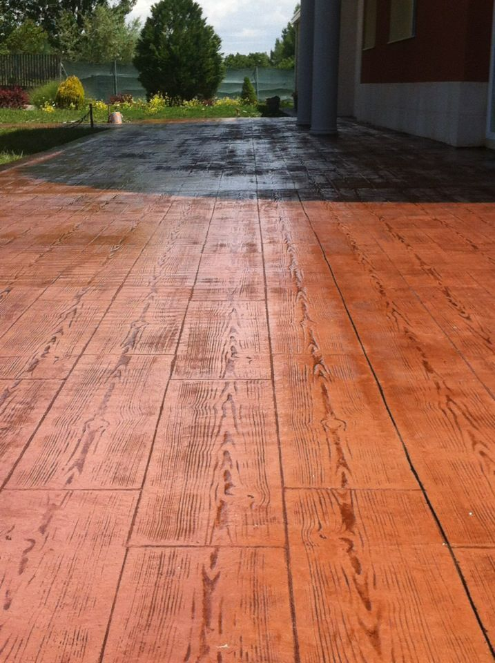 Pavimento de hormig n impreso en textura madera con ankare zaline corcho envejecido pavimentos - Hormigon impreso madera ...