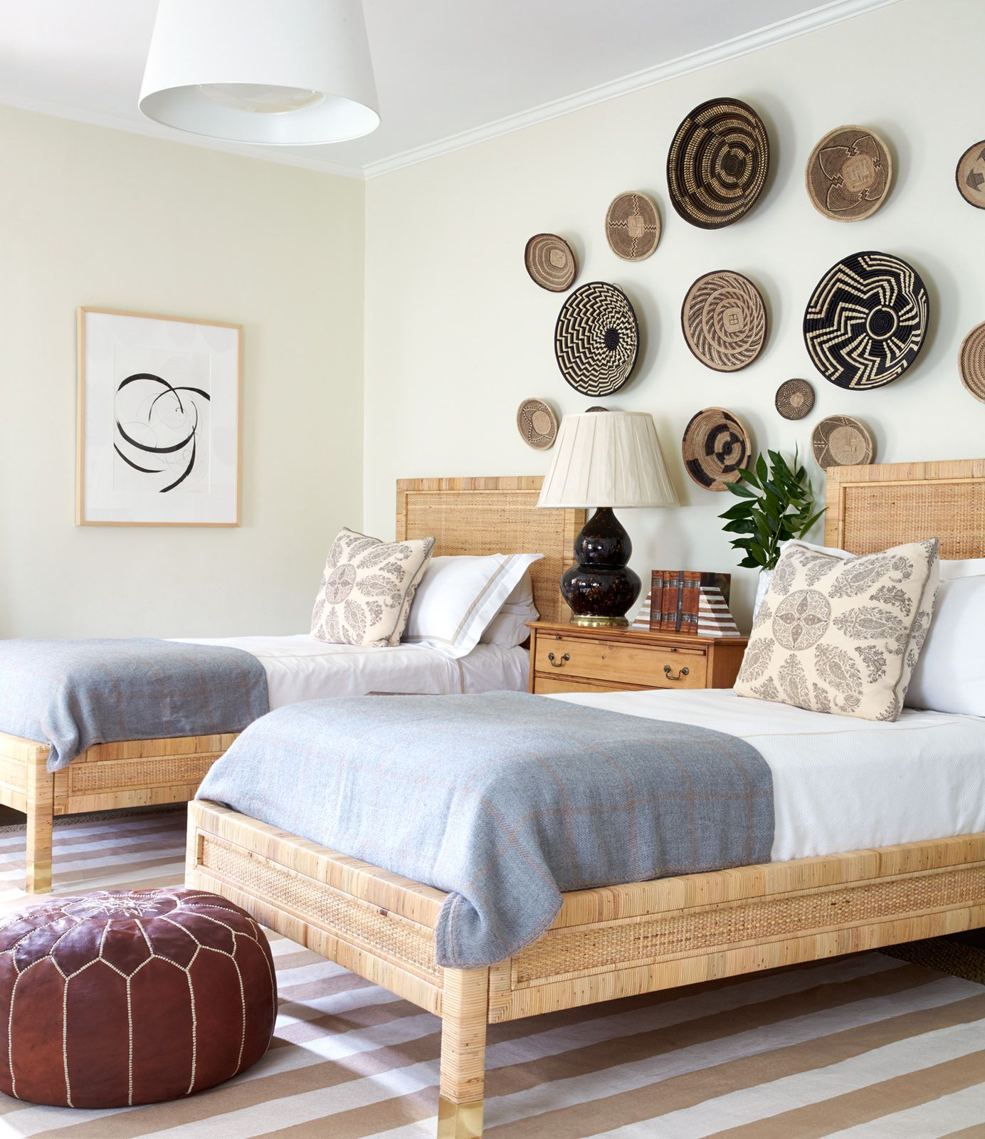 This Guest Bedroom Uses Basket Art To Create A Focus Wall