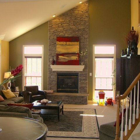 Image Result For Corner Fireplace With Sloped Ceiling  Stone Alluring Design Ideas For Living Rooms With Fireplace Inspiration