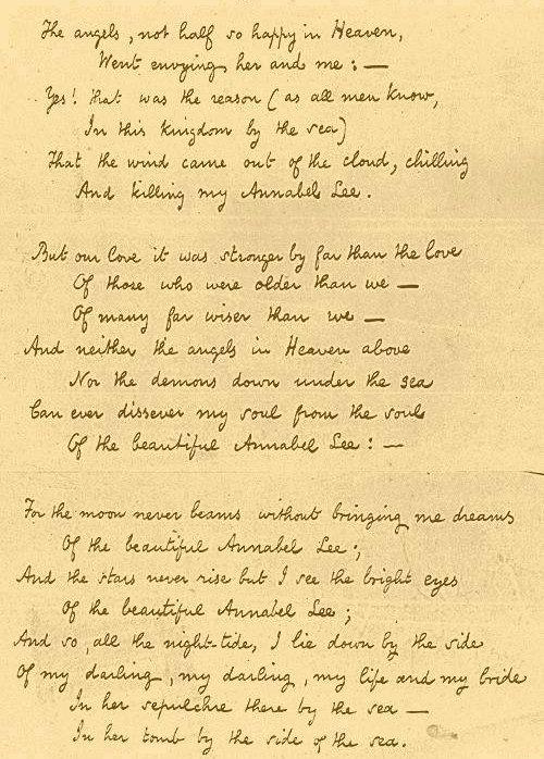 Annabel Lee Manuscript Edgar Allan Poe Part 2 эдгар аллан по