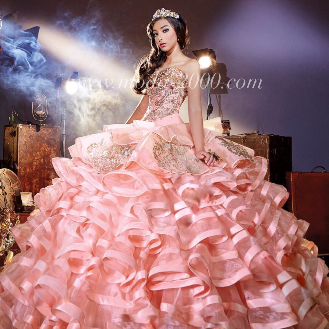 Sweetheart jeweled pink gold charro quinceanera dress
