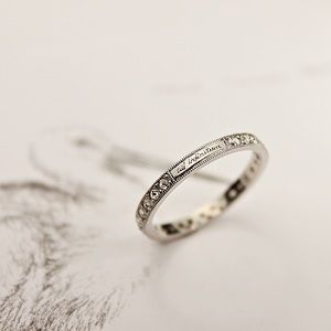 Platinum Rose Cut Diamond Eternity Ring With Milled Edge