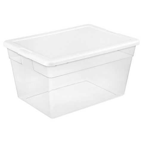 Sterilite® 56 Qt Storage Tote - Transparent with Glacier ...