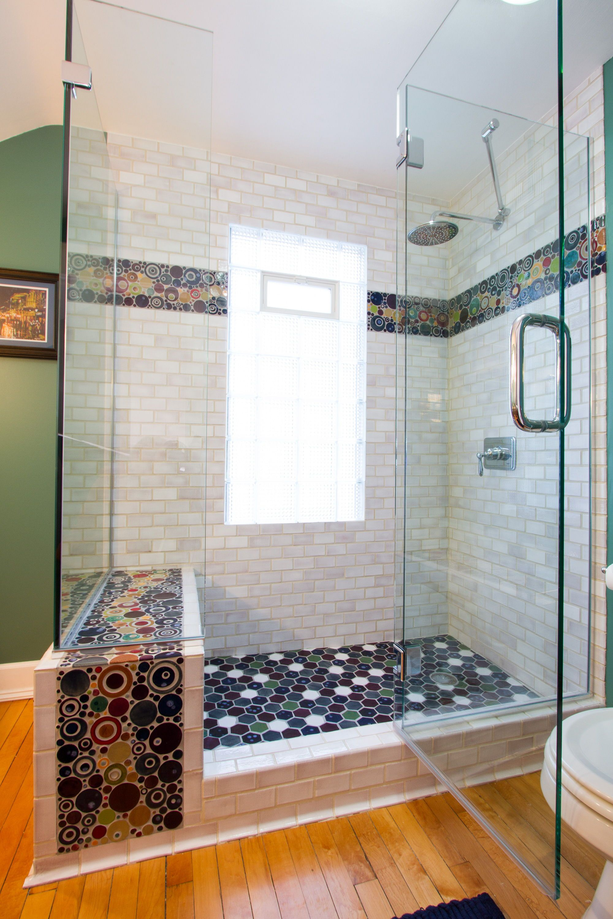 Bright And Bold Shower Tile Tile By Mercury Mosaics Mercury Mosaics Custom Mosaic Tile Custom Tiles