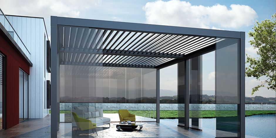 Suntech Aerolux, the first bioclimatic pergola and roof system of the world  with full-automatic tilting/retracting aerofoil louvres which can be  optionally ... - Suntech Aerolux, The First Bioclimatic Pergola And Roof System Of
