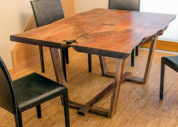 Reclaimed Wood Modern Dining Table, Portland, Oregon Oregon Black Walnut