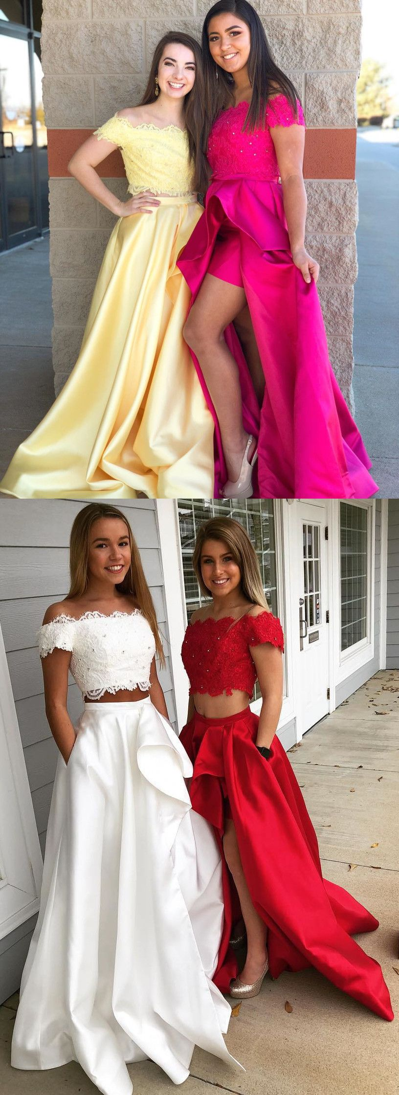 Two piece long prom dresses prom dresses off the shoulder