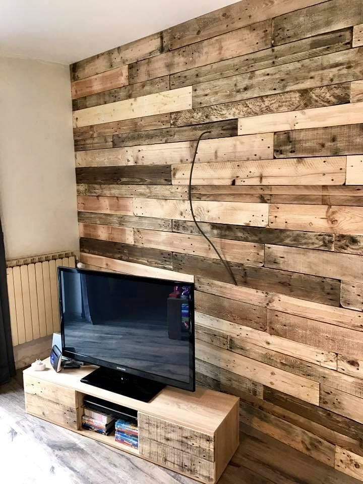 This Is DIY Pallet Wall Paneling Or Cladding To Invoke Some Natural Warmth And Beauty That Too In Perfect Stylish Way Just Grab A Pile Of Pallets