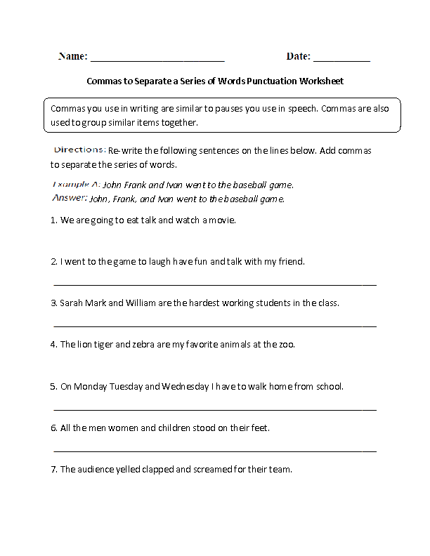 Commas to Separate Words Punctuation Worksheet | Englishlinx.com ...