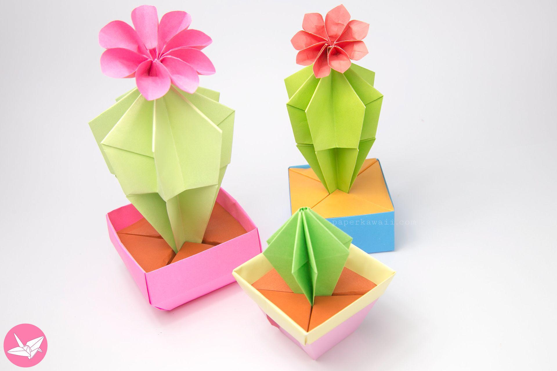 Origami Cactus Flower Tutorial Pinterest Cactus Flower Flower