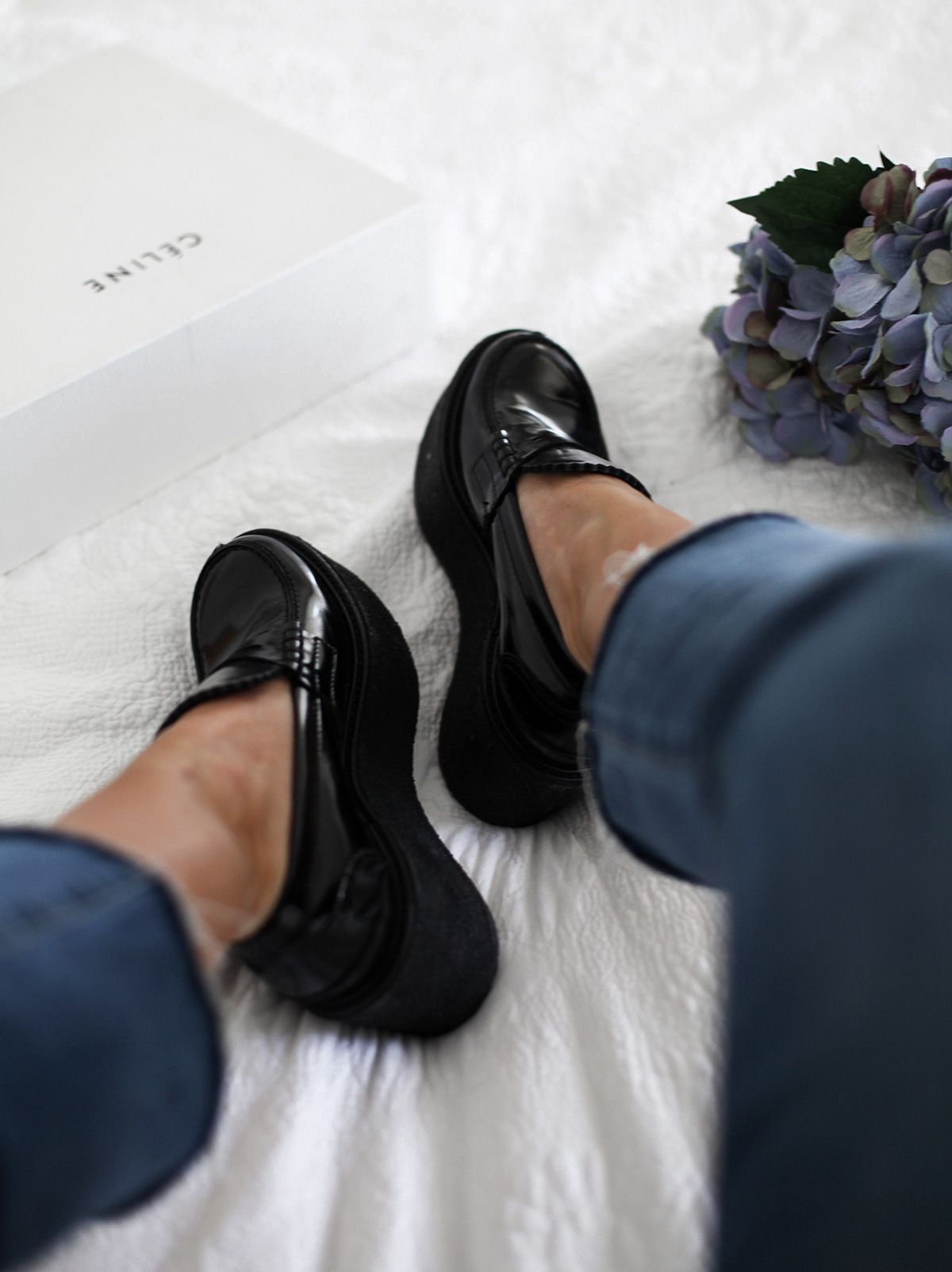 31b4971b7ca Blogger See Want Shop wearing Celine platform loafers and cropped fray  denim jeans from Paige
