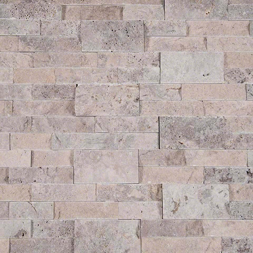 Silver Travertine Backsplash: Choose Silver Travertine Stacked Natural Stone Ledger