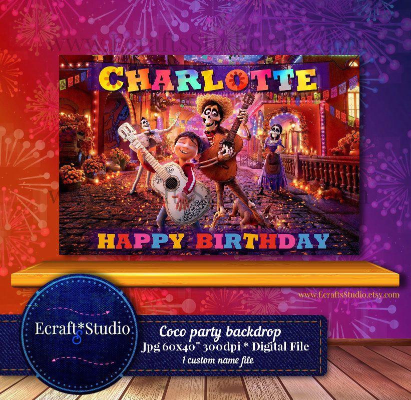 Coco Backdrop Coco Banner Printable Coco Disney Party Etsy Printable Banner Disney Party Disney Birthday Party