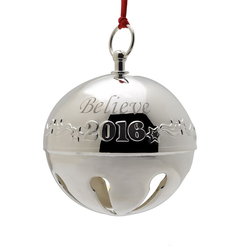 2016 Wallace Believe Sleigh BellSilverplate Christmas Ornament by Wallace - Wallace Believe Sleigh Bell Christmas Tree Decoration Wallace