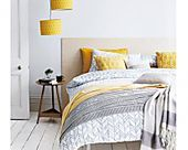 Nice idea for bedroom. Great combination of white yellow and grey colors. #bedr #graybedroomwithpopofcolor