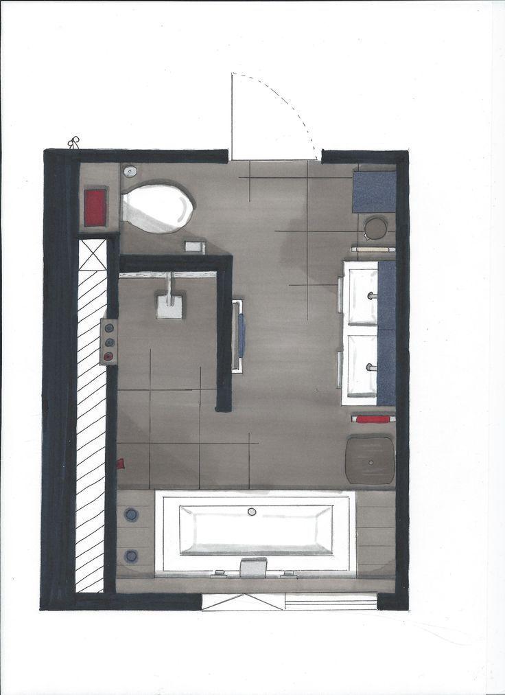 So Sieht Eine Platzsparende Variante Fur Die Anordnung Der Badezimmerelemente Aus Anordnung Badezimmere Badezimmer Badezimmer Grundriss Bad Inspiration