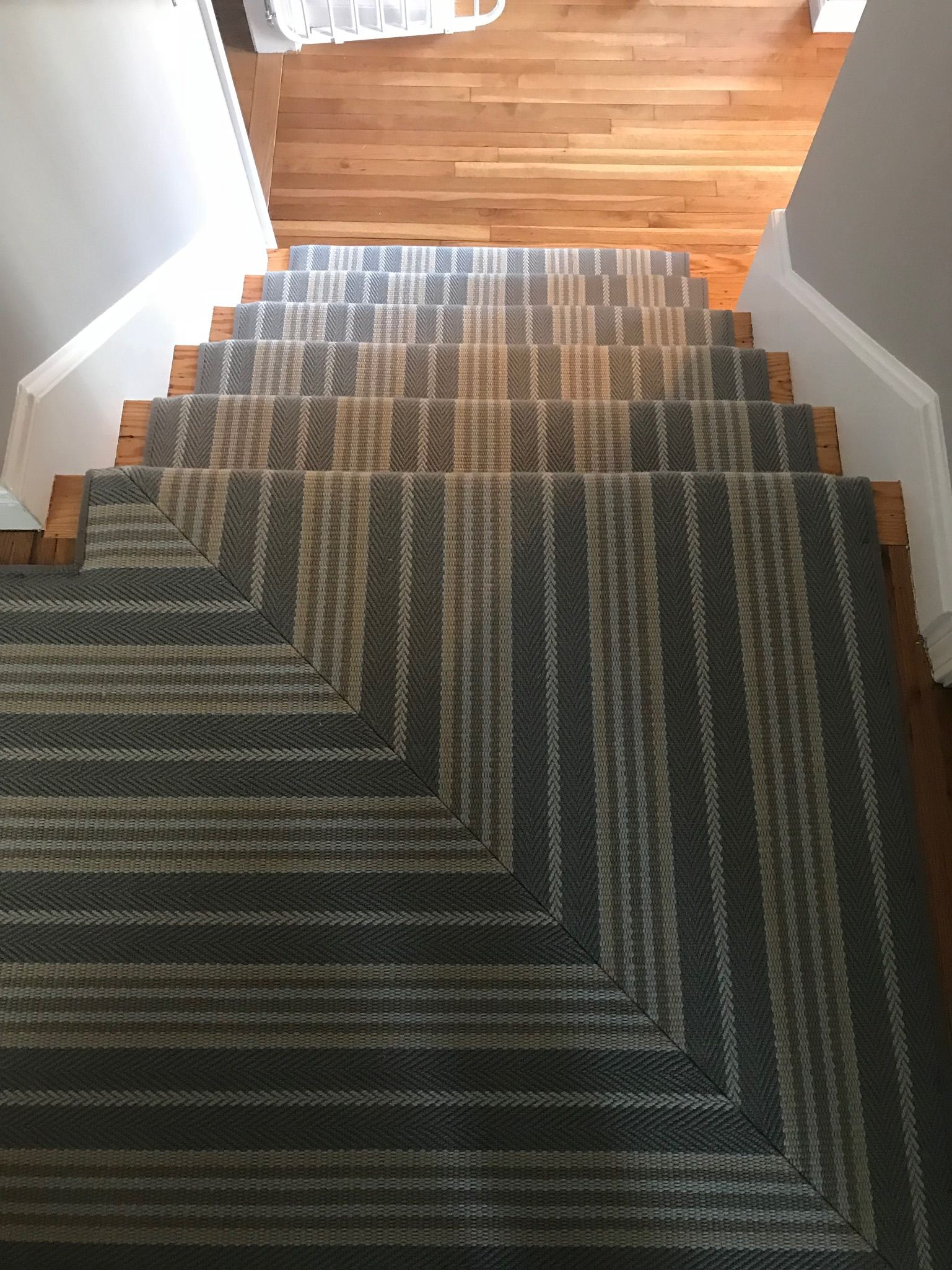 Prestige Mills Mantra Clarence Stripe Blue Ribbon Striped Stair Runner Stair Runner Blue Ribbon