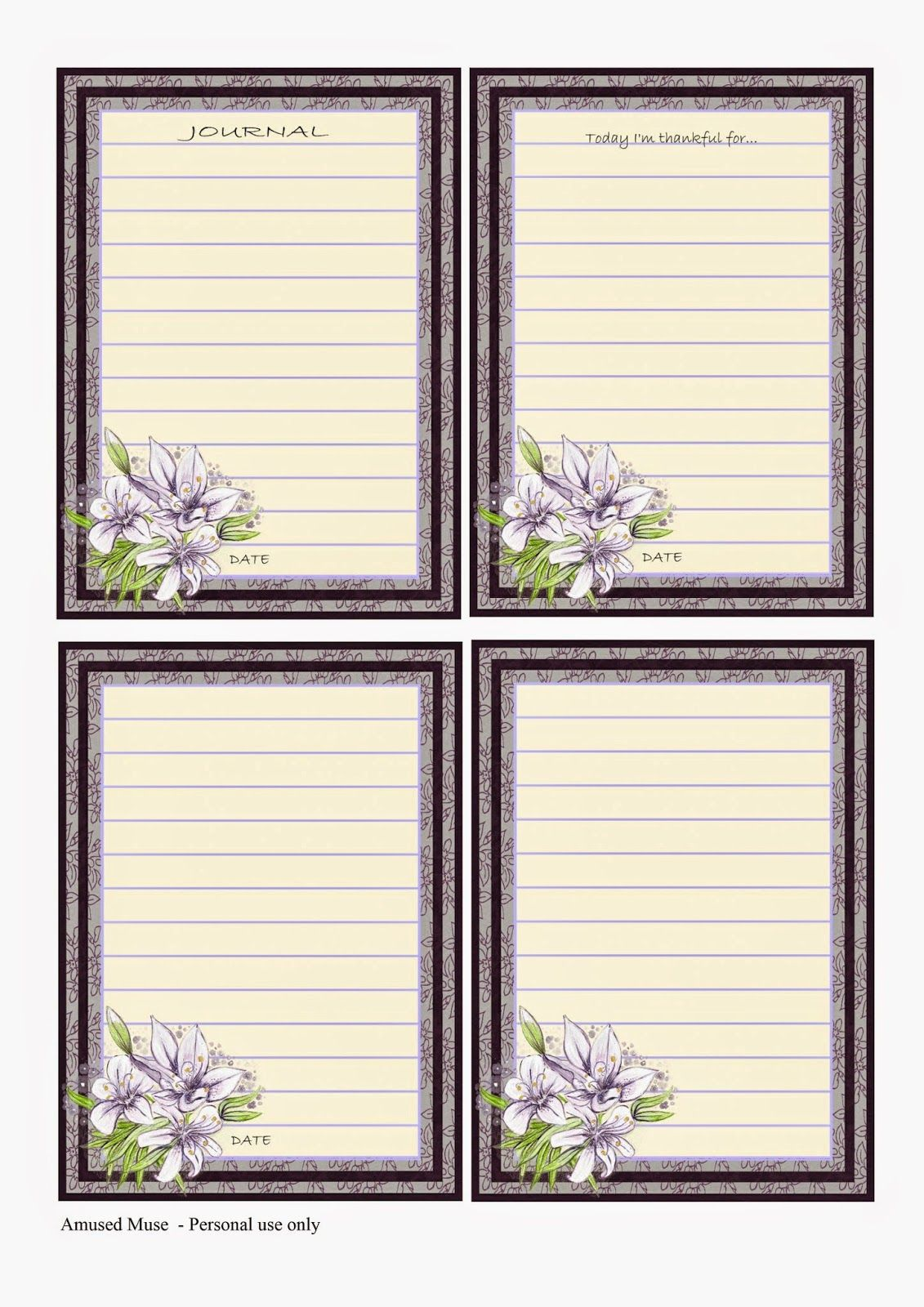 Amused Muse: Lilac Journal Cards Freebie | imprimibles | Pinterest ...