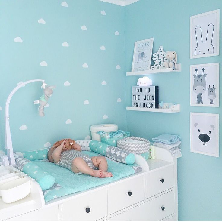 Kinderzimmer Room Boy Inspiration Mint Grey Baby boy