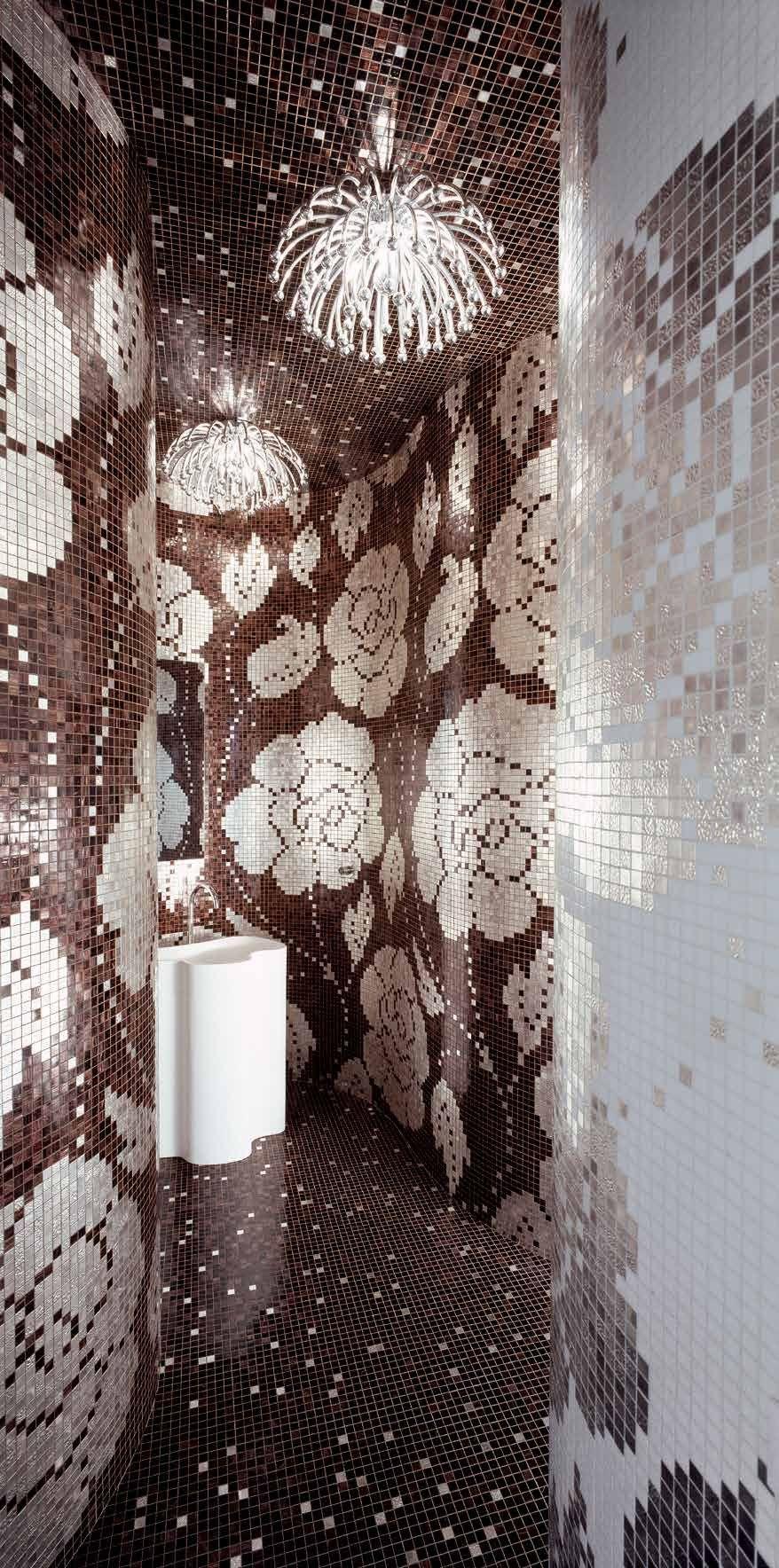 bisazza #decori 2x2 cm winter flowers oro nero | gold auf glass | im