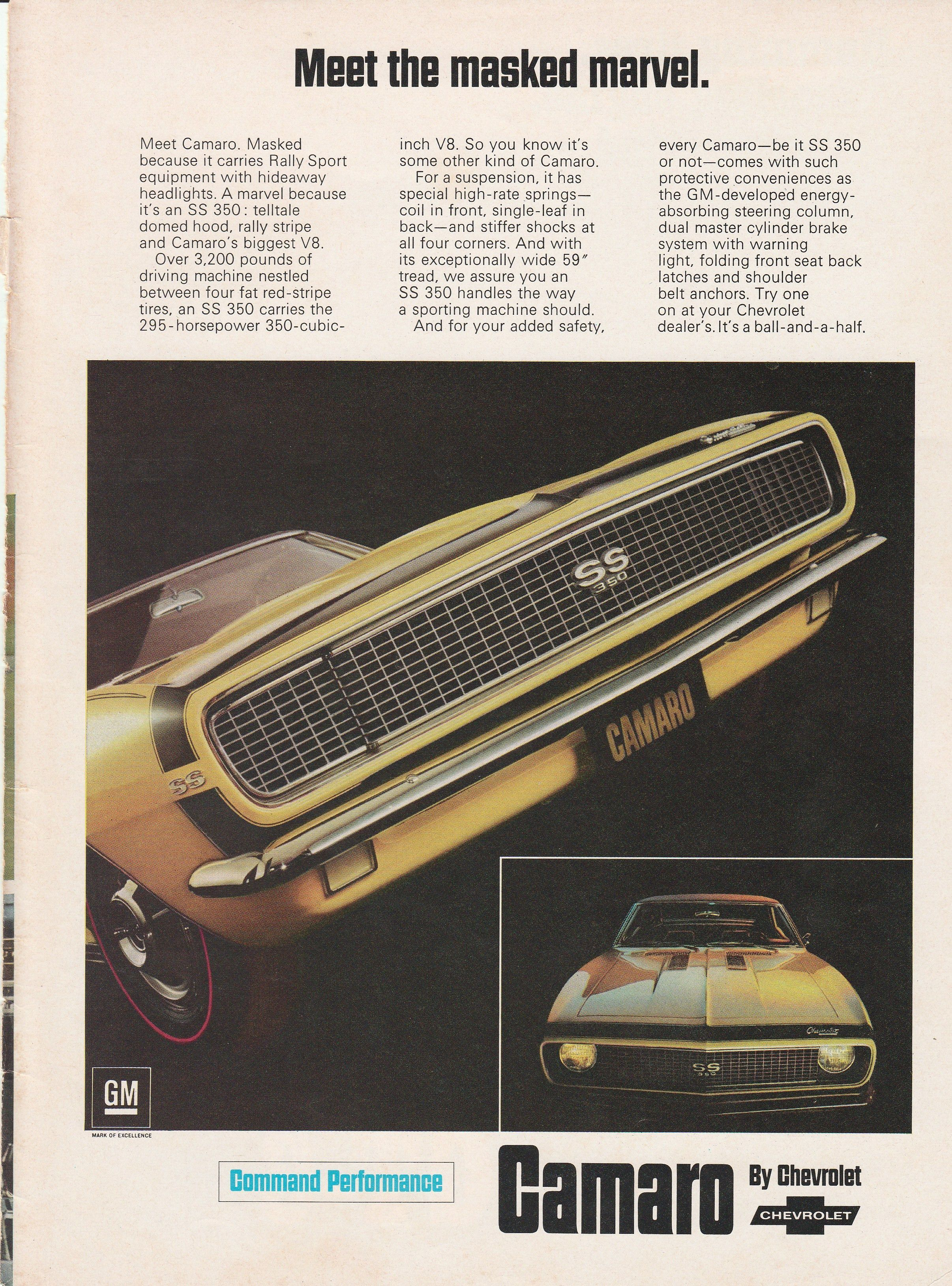 1967 Chevy Camaro Meet the masked marvel vintage ad