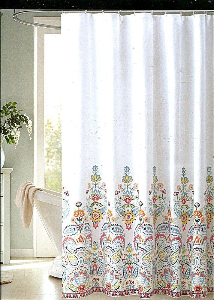 Amazon Envogue Gloria Multicolored Paisley Medallion Fabric Shower Curtain Home Kitchen