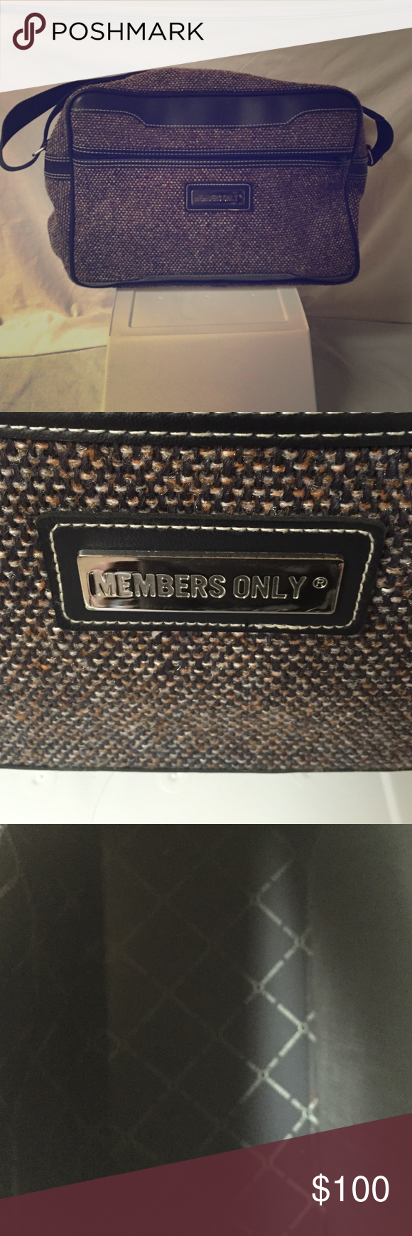 """Vintage Members Only Bag Super sweet Members Only toiletry/carry-on bag in mint condition! Navy blue with white, brown, and cream canvas. 10x16"""" Members Only Bags Travel Bags"""
