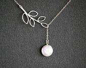 Pearl necklace, leaf necklace, coin pearl lariat necklace,