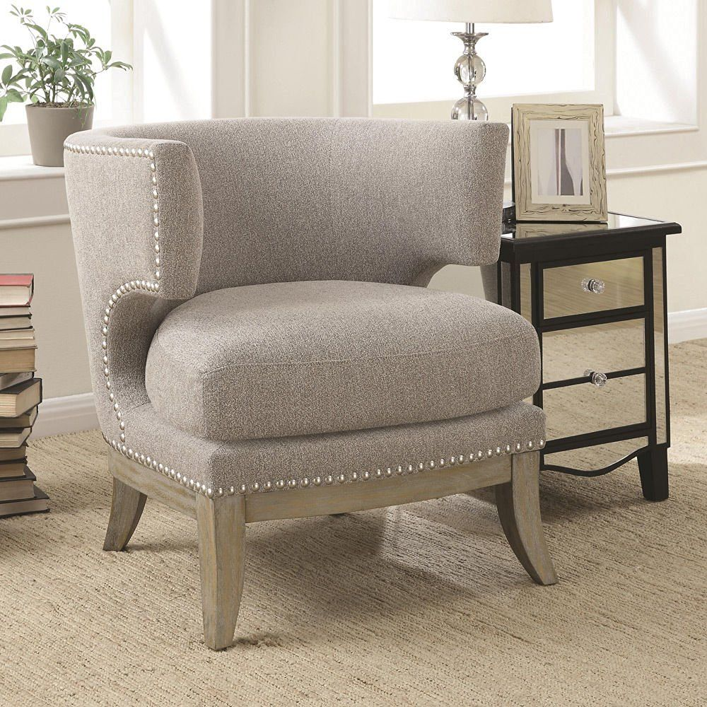 Unique Gray Upholstered Accent Chair  Barrel High Curved Back Nailhead Trim Fabric Weathered Grey Flared Legs And Wood Trim  Plush Seat Cushionrequired ...
