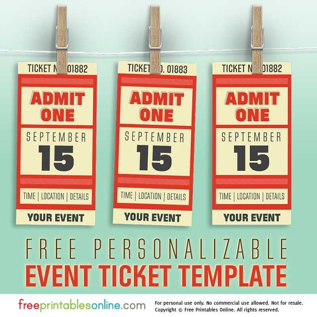 Free Personalized Event Ticket Template (Free Printables Online