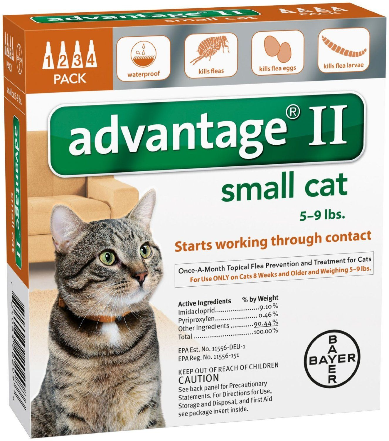 Advantage Ii Small Cat 4 Pack Want To Know More Click On The Image Cat Fleas Flea Treatment For Kittens Flea Medication For Dogs