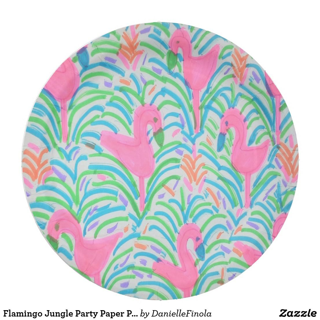 Flamingo Jungle Party Paper Plates  sc 1 st  Pinterest & Flamingo Jungle Party Paper Plates | Danielle Finola Lifestyle ...