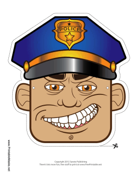 This police officer mask has a crooked grin and a big blue hat  His