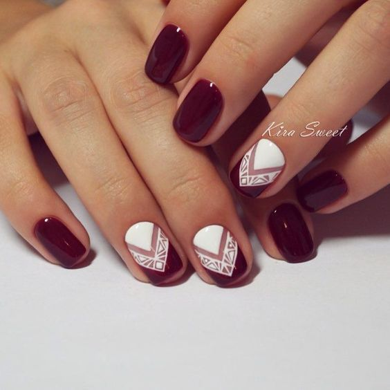 18 Chic Nail Designs for Short Nails: #17. Chic Maroon And White Nail Design - 18 Chic Nail Designs For Short Nails Pinterest Chic Nail Designs
