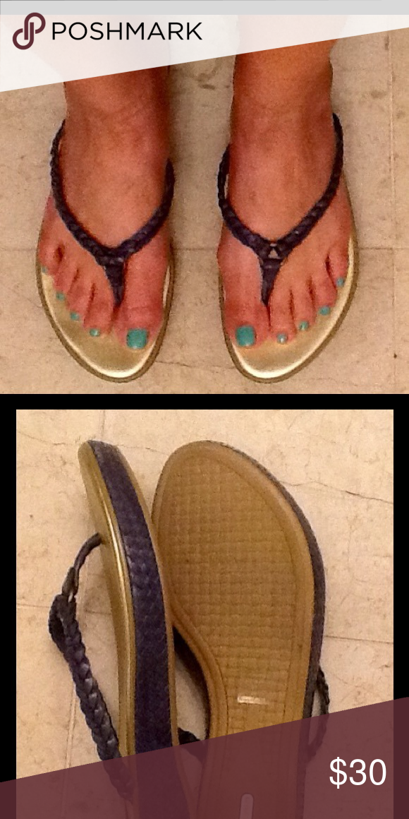 Cole Haan Shoes Teal colored slip-on sandals. Upper straps are woven (braid like) Cole Haan Shoes Sandals