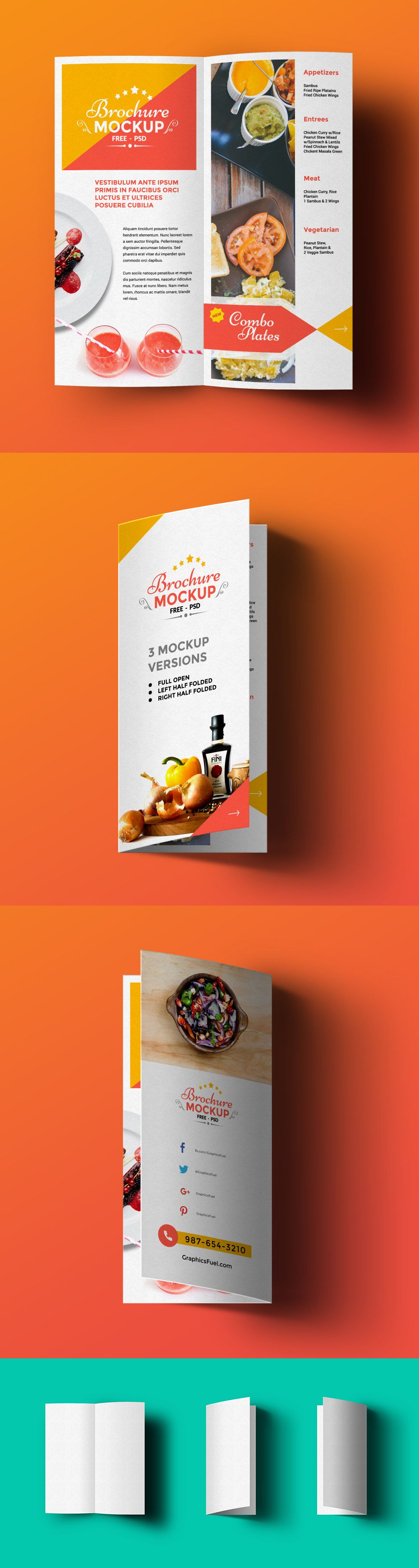 Free bi fold brochure mockup psd 62 1 mb graphicsfuel for Free photoshop brochure template