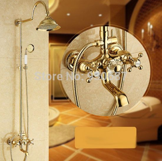 """$277.00 (Buy here: http://appdeal.ru/ee5f ) Gold Plated 8"""" Rainfall Shower Head Dual Handles Wall Mounted Shower Set Faucet for just $277.00"""