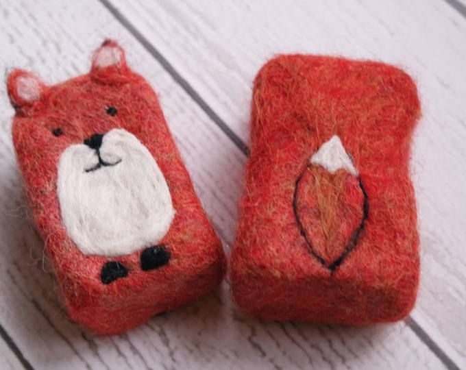 Felted Soap Fox #feltedwoolanimals