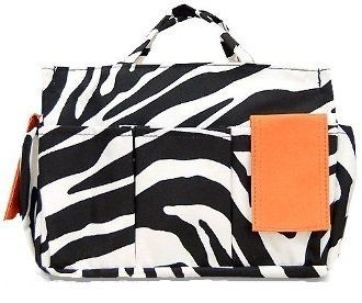 """Orange Zebra Organizer Bag by Private Label. $12.66. Material: Canvas. Two Side Compartments. Top Carry Handles. Collapsable. 10 Exterior Compartments including cell phone holder. Approximate Size: 10""""L X 3"""" W x 6.75"""" L"""