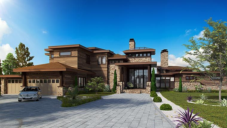 house plan 43226 | contemporary modern plan with 7419 sq. ft., 4
