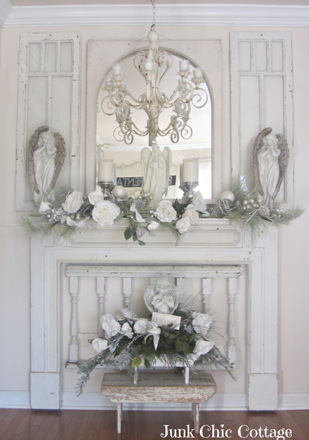 White Christmas Shabby Chic Fireplace Junk Chic Cottage Shabby Chic Christmas