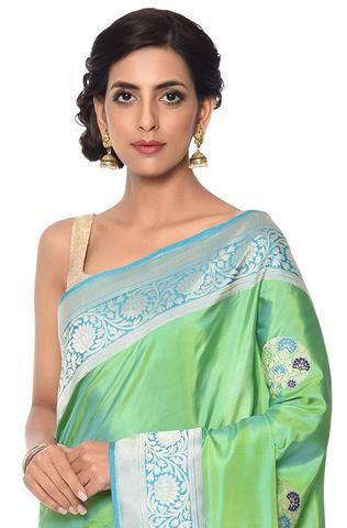 8694e31e26 Handowoven green blue shot color banarasi saree with meenakari booti and  blue border